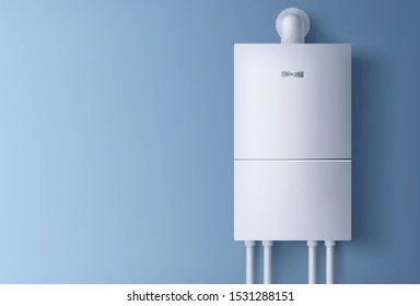 Boiler, electronic water heater hanging on blue wall. Home plumbing electric fixture with pipes for heating cold aqua. Energy and cash savings smart system equipment. Realistic 3d vector illustration