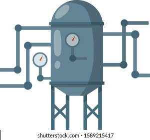 Boiler for heating water. Grey tank with pipes and dial. Sanitary engineering. Cartoon flat illustration. Element of house, bath and toilet system