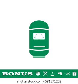 Boiler icon flat. Green pictogram on white background. Vector illustration symbol and bonus button