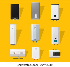 Boiler icons set in detailed flat style. Modern and classic, slim and designer boilers. Efficient house concept.
