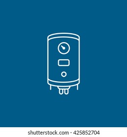 Boiler Line Icon On Blue Background