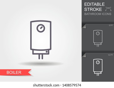 Boiler. Outline icon with editable stroke. Linear symbol of the bathroom with shadow