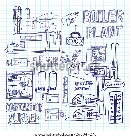 Boiler Room Equipment Engineering Systems Sketch Stock Vector ...