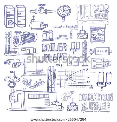 Boiler Room Equipment Engineering Systems Sketch Stock Vector ...