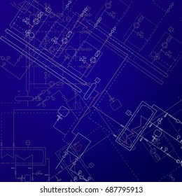 Boiler room technical drawings vector illustration. Heater engineering project. Blue background and white equipment.