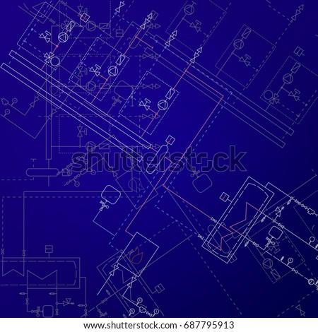 Boiler Room Technical Drawings Vector Illustration Stock Vector ...