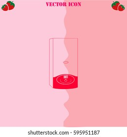 Boiler vector icon. Strawberry Background.