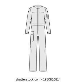 Boilersuit coverall Dungaree jumpsuit technical fashion illustration with full length, normal high rise waist with pockets and long sleeves. Flat front, grey color style. Women, men unisex CAD mockup