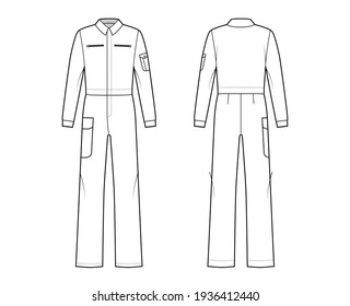 Boilersuit coverall Dungaree jumpsuit technical fashion illustration with full length, normal waist, high rise, pockets, long sleeves. Flat front back, white color style. Women, men unisex CAD mockup