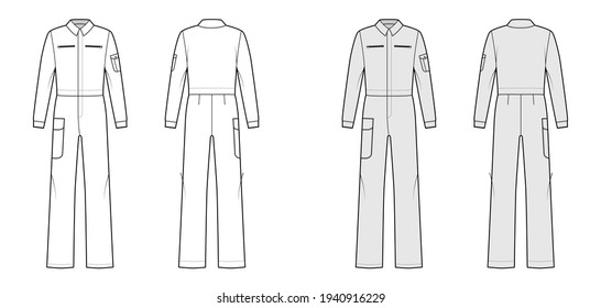 Boilersuit coverall Dungaree jumpsuit technical fashion illustration with full length, normal waist, high rise, pockets, long sleeves. Flat front back, white, grey color. Women, men unisex CAD mockup