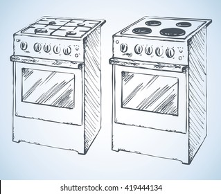 Boiling hotplate tables with four hot plate and buttons isolated on white background. Freehand outline ink hand drawn picture sketchy in art scrawl retro style pen on paper