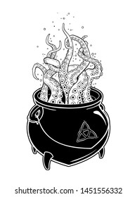 Boiling magic cauldron with octopus tentacles isolated on white background. Hand drawn halloween design vector illustration