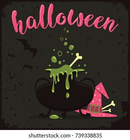 Boiling magic potion with witch hat and flying bats. Halloween celebration theme.