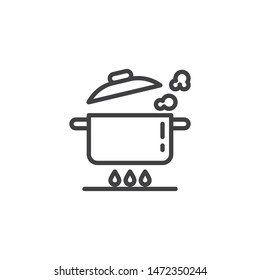 Boiling pan on gas stove line icon. Saucepan on fire linear style sign for mobile concept and web design. Cooking instructions outline vector icon. Symbol, logo illustration. Vector graphics