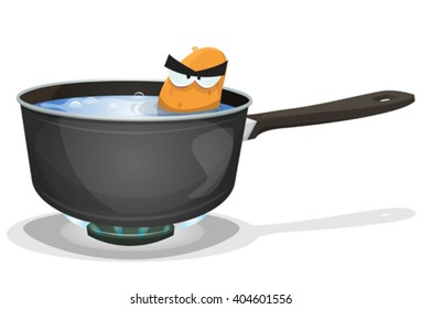 Boiling Potato Inside Kitchen Pan/ Illustration of a funny angry cartoon potato character, angry while boiling inside home kitchen pan