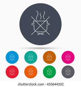 Boiling saucepan icon. Do not boil water sign. Cooking manual attenction symbol. Icons in colour circle buttons. Vector