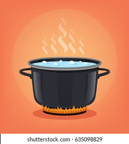Boiling water in black pan. Cooking concept. Vector flat cartoon illustration