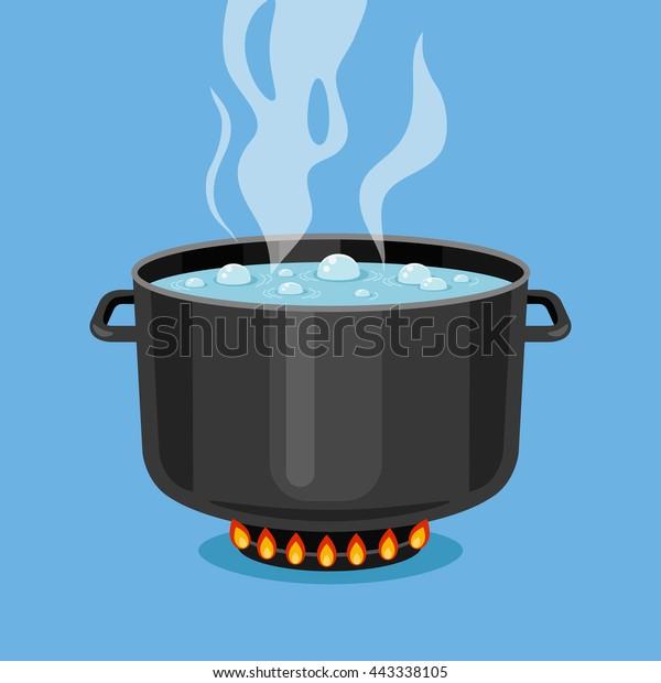 Đun sôi nước trong chảo. Nồi nấu đen trên bếp với nước và hơi nước. Các yếu tố đồ họa thiết kế phẳng. Hình minh họa vector