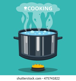 Boiling water in pan. Cooking pot on stove with water and steam. Flat vector illustration.