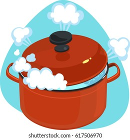 Boiling water in red cooking pot with lid. White water steam. Isolated. On blue background.