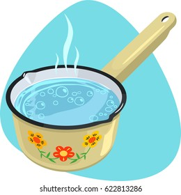 Boiling water in saucepan. Deep cooking pan with one handle. Isolated. On blue background.