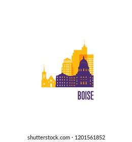 Boise city emblem. Colorful buildings. Vector illustration.