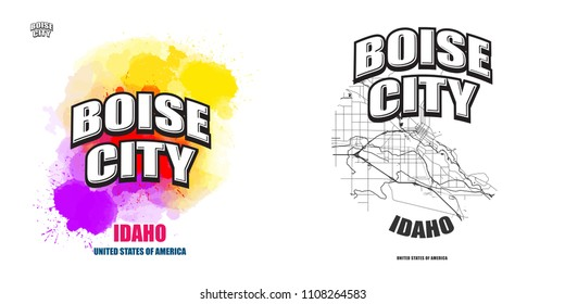 Boise City, Idaho, logo design. Two in one vector arts. Big logo with vintage letters with nice colored background and one-color-version with map for every possible print production.