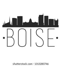 Boise Idaho. City Skyline. Silhouette City. Design Vector. Famous Monuments.
