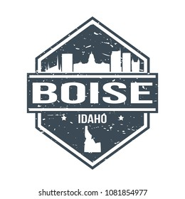 Boise Idaho Travel Stamp Icon Skyline City Design