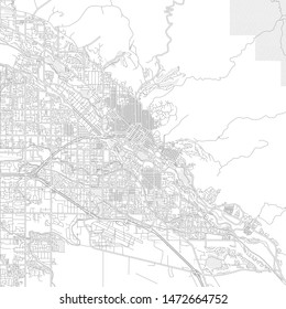 Boise, Idaho, USA, bright outlined vector map with bigger and minor roads and steets created for infographic backgrounds.