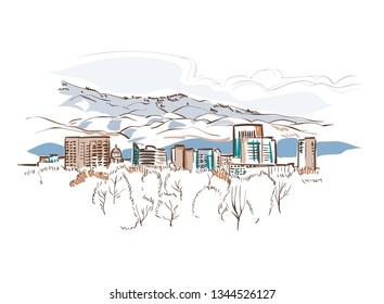 Boise Idaho vector sketch line usa landscape hand drawn