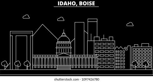 Boise silhouette skyline. USA - Boise vector city, american linear architecture, buildings. Boise travel illustration, outline landmarks. USA flat icon, american line banner