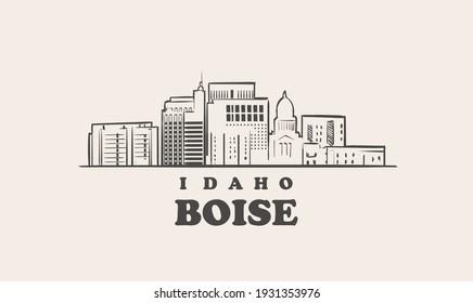 Boise skyline, idaho. Boise hand drawn sketch