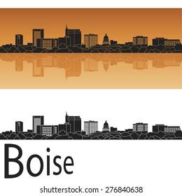 Boise skyline in orange background in editable vector file