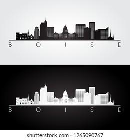 Boise USA skyline and landmarks silhouette, black and white design, vector illustration.