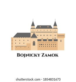 Bojnice Castle in Slovakia. A medieval castle in Bojnice, Slovakia. It is a Romanesque castle with some original gothic. Flat cartoon style historic sight showplace attraction. Vector illustration