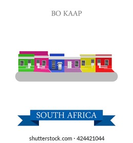 Bo-Kaap in Cape Town in South Africa. Flat cartoon style historic sight showplace attraction web site vector illustration. World countries cities vacation travel sightseeing Africa collection.