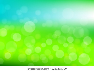 Bokeh background vector in green and blue color; bokeh in daylight in the green garden and blue sky