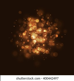 Bokeh effect golden light background. Golden Christmas concept. Vector yellow sparkling light explosion backdrop. Shiny volume star dust golden light on black background