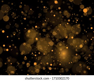 Bokeh effect. Texture glitter and elegant for Christmas. Sparkling magical gold yellow dust particles. Magic golden concept. Abstract black background Vector