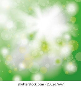 Bokeh of green forest with sunlight. Eps 10 vector file.