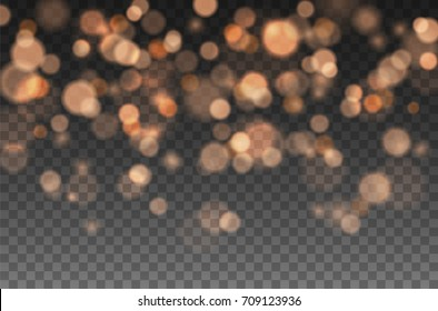 Bokeh lights effect isolated on transparent background. Vector Christmas glowing yellow and orange overlay sparkle texture for your design.