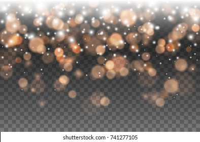 Bokeh lights effect isolated on transparent background. Vector Christmas glowing white, yellow and gold overlay sparkle texture. Falling glitter particles for your design