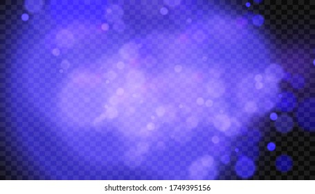 Bokeh magical blur background. Deep blue violet gradient. Shimmer confetti pattern. Abstract holiday illustration.