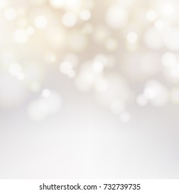 Bokeh silver and white Sparkling Lights Festive background with texture. Abstract Christmas twinkled bright defocused. Winter Card or invitation. Vector illustration