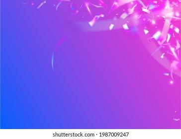 Bokeh Tinsel. Blue Disco Background. Festive Art. Holiday Foil. Shiny Prismatic Template. Glitch Glare. Metal Flare. Neon Confetti. Purple Bokeh Tinsel