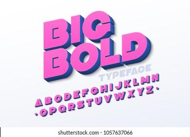 Bold 3d font, vector illustration