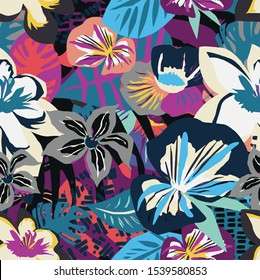 A bold abstract floral pattern is perfect for textiles and interiors.