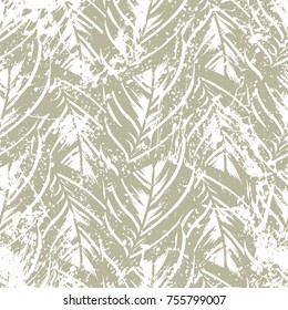 Bold abstract jungle print with silhouette of paradise island foliage. Vector seamless floral green pattern inspired by tropical nature and plants with shape of palm leave and trees. Summer background