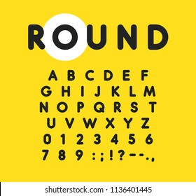 Bold alphabet with rounded and soft corners. Modern font for advertising, web, event, child party, other business.